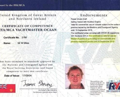 Mark Miles MCA Yachtmaster Ocean