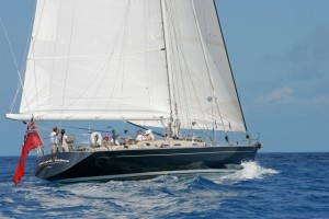 SY Pacific Wave sailing in the British Virgin Islands with guests onboard