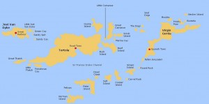 Map of the BVI showing Great Camanoe Island