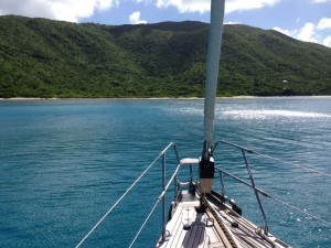 Pacific Wave anchored in a secluded anchorage BVI