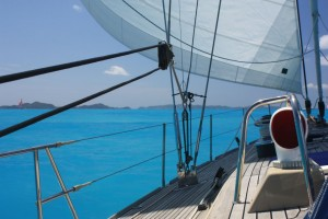 SY Pacific Wave sailing down the Sir Francis Drake Channel BVI