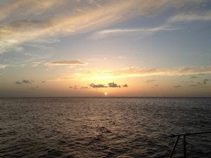 Caribbean sunset from Pacific Wave in Saba