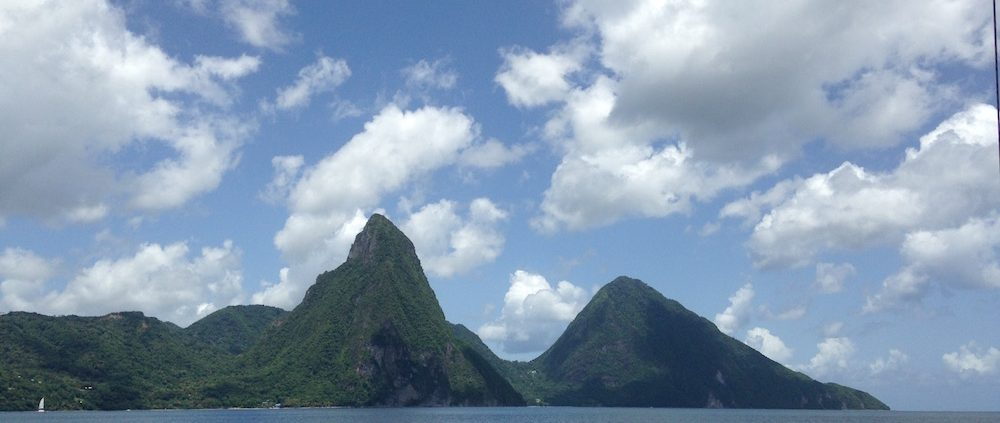 Pacific Wave sailing to the Pitons St Lucia the UNESCO World Heritage Site