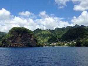 Sailing past St Vincent on Pacific Wave