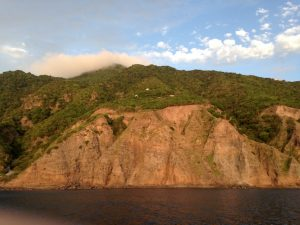 Tiny houses perched on the steep cliffs of Saba