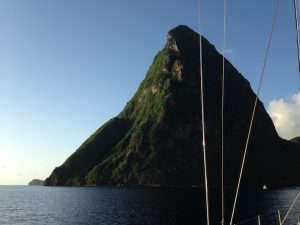 View of the Pitons from Pacific Wave moored in the Unesco World Heritage Site