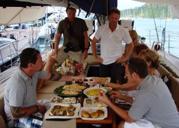 Judges and Photographer Interviewing Mark Miles at the Antigua Charter Yacht Show