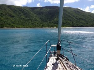 SY Pacific Wave anchored off Long Bay Virgin Gorda BVI