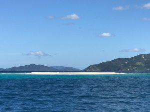 Pacific Wave anchored behind Sandy Spit BVI