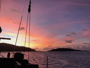 Stunning Caribbean Sunsets every night on a Caribbean Yacht Charter