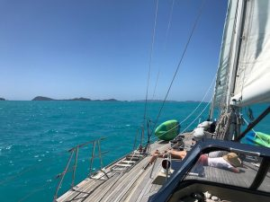 Chilling out on a BVI Crewed Yacht Charter on Pacific Wave
