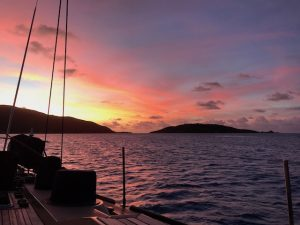 Sunset from Pacific Wave BVI Crewed Yacht Charter