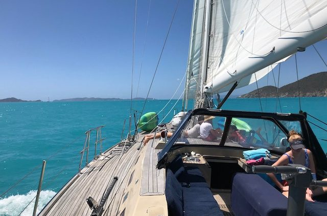 Pacific Wave sailing on a BVI Crewed Yacht Charter