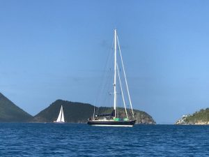 SY Pacific Wave anchored in the BVI