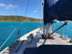 Pacific Wave anchored off Prickly Pear Island on a BVI Crewed Yacht Charter