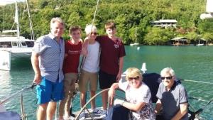 Dave, Carole, Gordon, Ben, James, Owen a Grenadines Yacht Charter onboard Pacific Wave New Year 2020