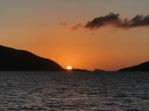 Sunset in the BVI from SY Pacific Wave
